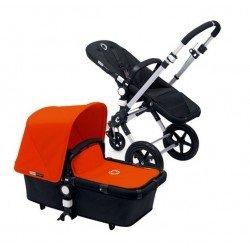 Bugaboo Cameleon 3 negro, chasis de aluminio y Pack de Fundas naranja