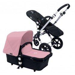 Bugaboo Cameleon 3 negro, chasis de aluminio y Pack de Fundas rosa pastel