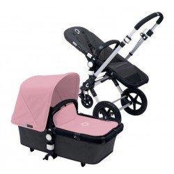 Bugaboo cameleon 3 gris oscuro, chasis aluminio y pack de fundas rosa pastel