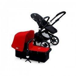 Bugaboo Buffalo chasis negro y pack de fundas rojo