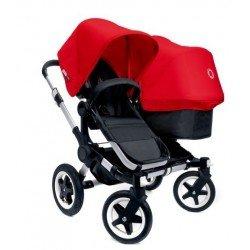 Bugaboo Donkey Duo - Base negra con chasis aluminio - Pack de fundas rojas