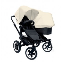 Bugaboo Donkey Duo - Base negra con chasis negro - Pack de fundas marfil