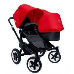 Bugaboo Donkey Duo - Base negra con chasis negro - Pack de fundas rojos