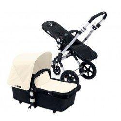 Bugaboo Cameleon 3 negro, chasis de aluminio y Pack de Fundas marfil