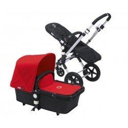 Bugaboo Cameleon 3 negro, chasis de aluminio y Pack de Fundas rojo