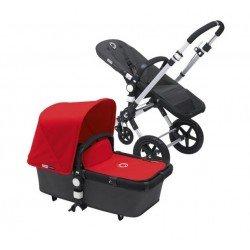 Bugaboo cameleon 3 gris oscuro, chasis aluminio y pack de fundas rojo