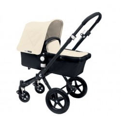 Bugaboo Cameleon 3 negro, chasis negro y pack de Fundas marfil
