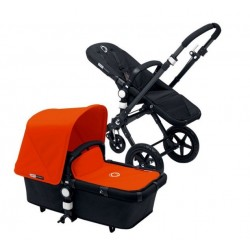 Bugaboo Cameleon 3 negro, chasis negro y pack de Fundas naranja
