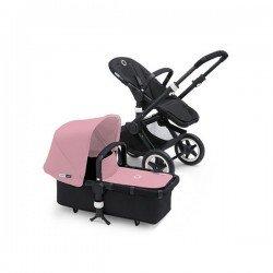 Bugaboo Buffalo chasis negro y pack de fundas rosa pastel