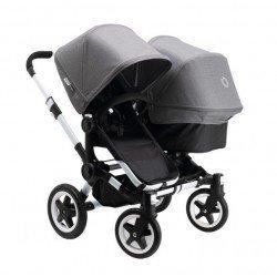 Bugaboo Donkey Duo - Base negra con chasis aluminio - Pack de fundas gris melange