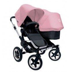 Bugaboo Donkey Duo - Base negra con chasis aluminio - Pack de fundas rosa pastel