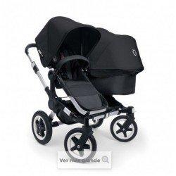 Bugaboo Donkey Duo - Base negra con chasis aluminio - Pack de fundas negras