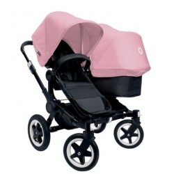 Bugaboo Donkey Duo - Base negra con chasis negro - Pack de fundas rosa pastel