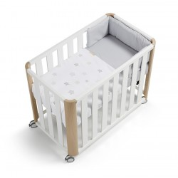 Minicuna colecho DOCO Sleeping blanco/natural + textil Star gris